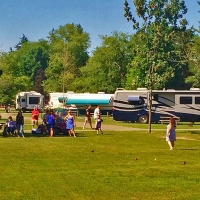 people playing bocce ball at campground