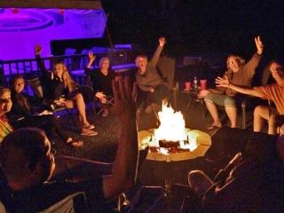 having fun at a bonfire