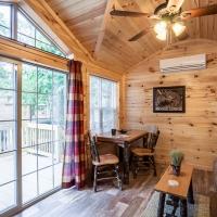 living area with patio doors inside cabin