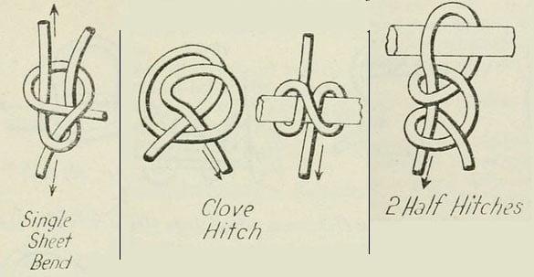 three knots: clove hitch, half hitch, sheet bend